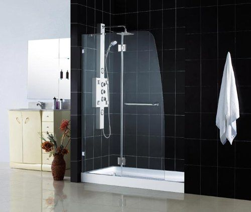 dreamline aqua lux clear glass shower door u0026 amazon base kit 45 x 72 shower