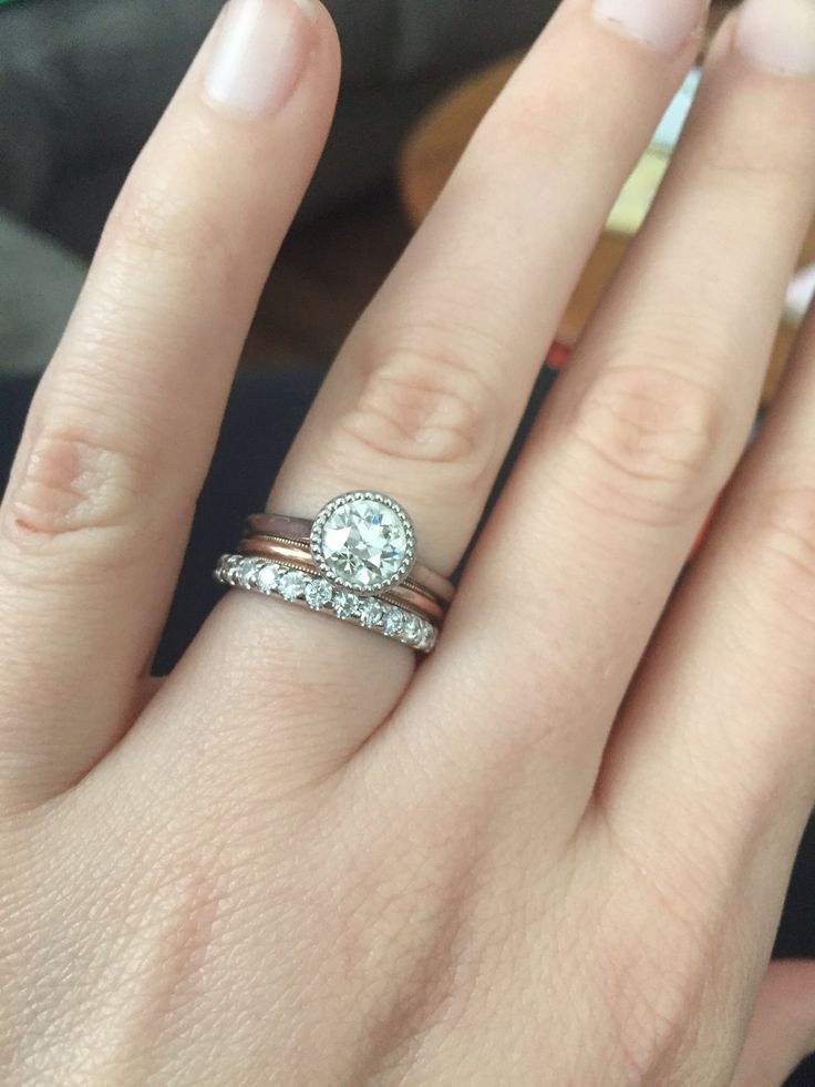 Looking for ideas for wedding band with bezel set engagement ring - Weddingbee