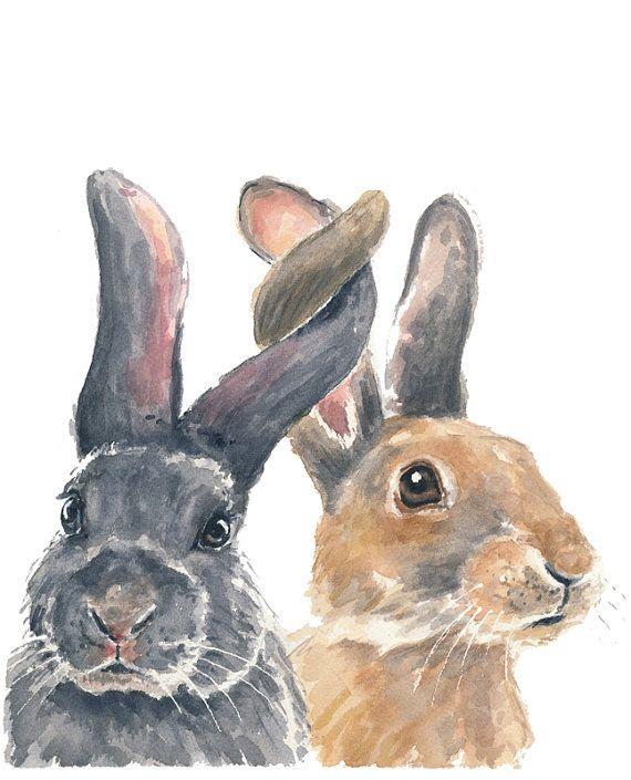 Original Rabbit Watercolor Painting Bunny por WaterInMyPaint, $60.00