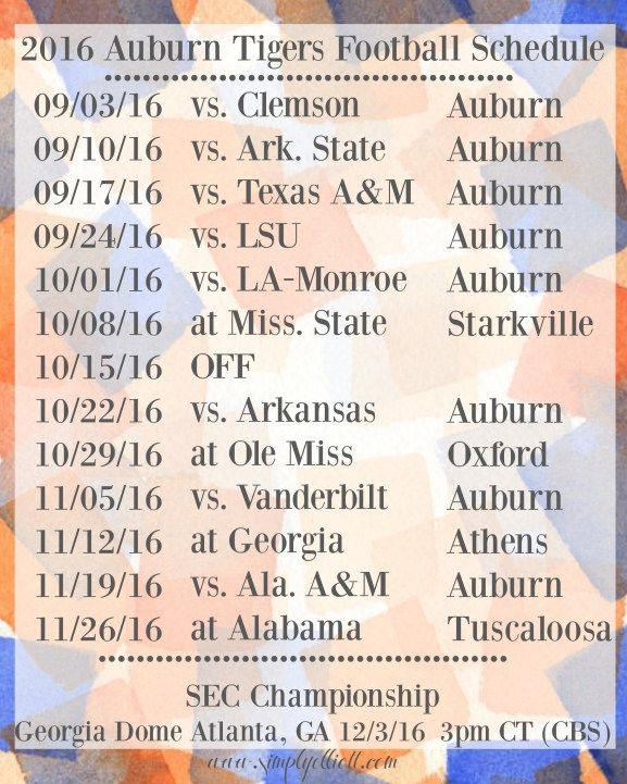 2016 Auburn Football Schedule | Freebie - Simply Elliott