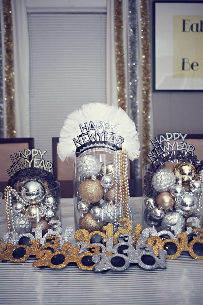Silver Gold & Black New Year's Party Ideas Photo 8 of 38