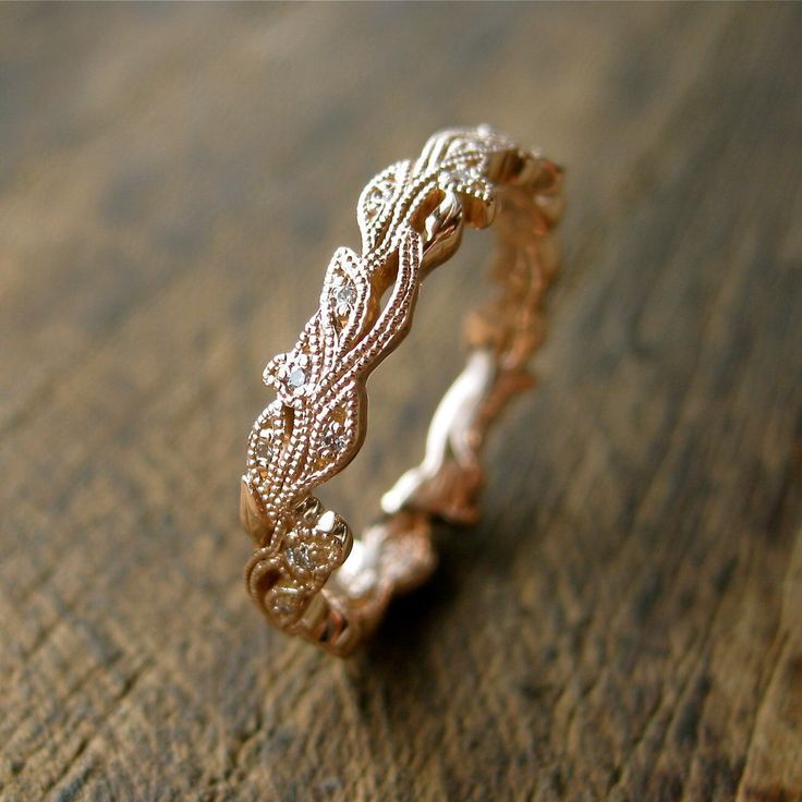 Diamond Wedding Ring in 14K Rose Gold with Diamonds in Flower Buds & Leafs with Antiquing on Vine Size 5 by SlowackJewelry on Etsy www.etsy.com/...