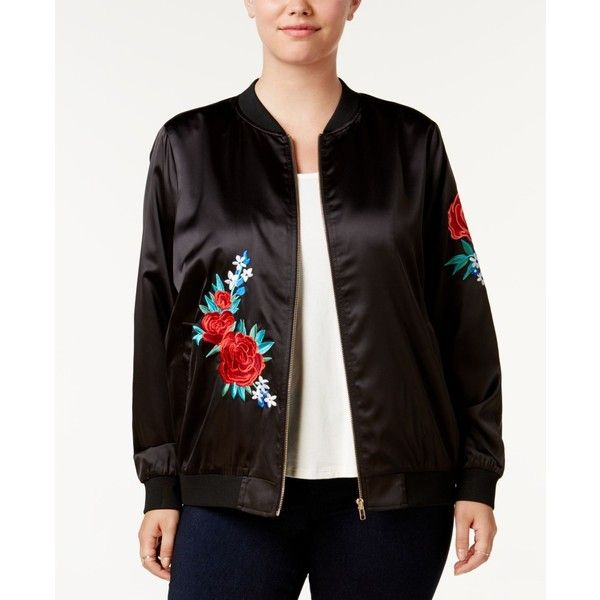Say What? Trendy Plus Size Embroidered Bomber Jacket ($28) ❤ liked on Polyvore featuring plus size women's fashion, plus size clothing, plus size outerwear, plus size jackets, black, flower print bomber jacket, floral embroidered jacket, flower print jacket, floral-print bomber jackets and flight jacket