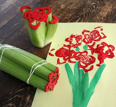 Love this! Celery print flowers. Great for a Valentine's Day or Mother's Day bouquet!