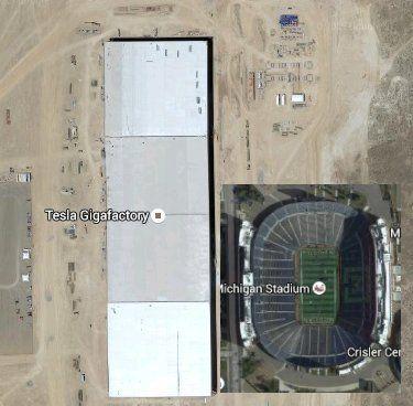 Satellite image of tesla gigafactory with football field for Electric motor repair reno nv