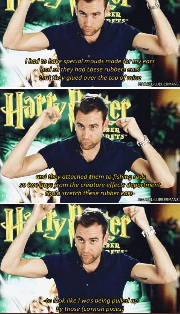Matthew Lewis about Neville Longbottom's scene on CoS when his ears gets pulled up by the Cornish Pixies and hung from the chandelier.