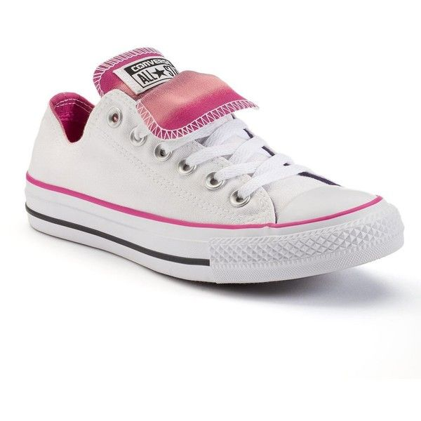 Women's Converse Chuck Taylor All-Star Double-Tongue Low-Top Sneakers ($55) ❤ liked on Polyvore featuring shoes, sneakers, white pink, white low tops, pink shoes, pink sneakers, converse sneakers and white shoes