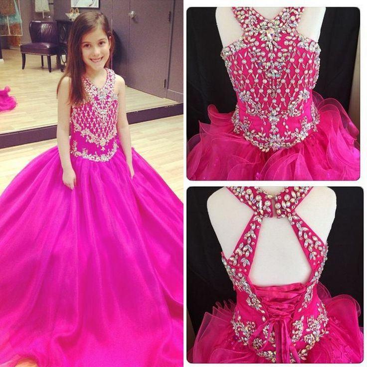 V Neck Fuchsia Sweep Train Girl'S Pageant Dresses Ball Gown Shining Beaded Crystals Little Girls Open Back Organza Flower Girls' Dresses Pagent Dresses Princess Dresses For Toddlers From Sweetlife1, $77.48  Dhgate.Com