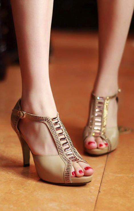 5646e03492e6 Womens Rhinestone Peep Toe High Heel Sandals  shoes