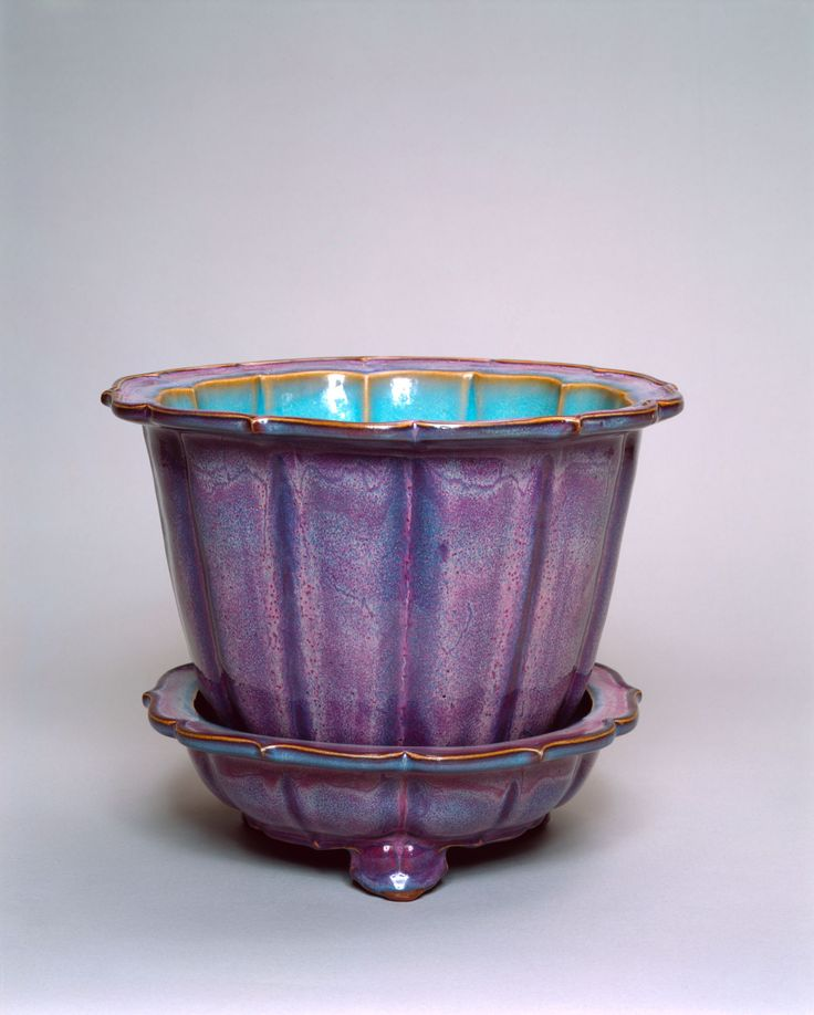 Flower Pot with Barbed, Foliate Rim, probably 15th century, Numbered Jun ware: light gray stoneware with variegated purple and blue glaze; with the Chinese numeral 3 (san). China/East Asia