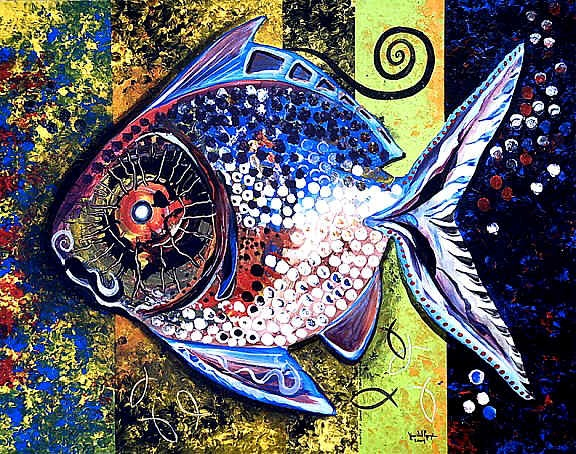 one of the many fish paintings of Jason Vincent Scarpace