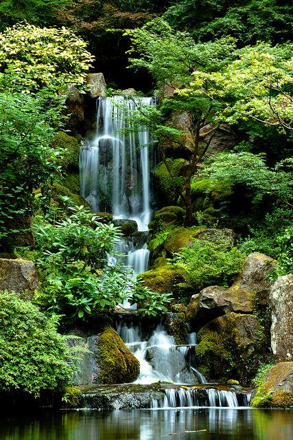 peaceful waterfalls in Portland Japanese Gardens, Oregon