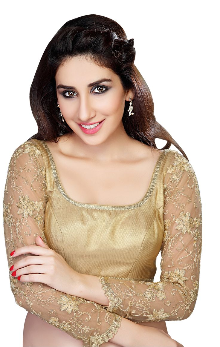 Gorgeous Long Sleeve Gold Saree Blouse X-136 Walk pretty and stylish in this gold brocade saree blouse. It has beaded tassels at the neck line and fancy long lace sleeves that bring a rich look to you