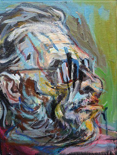 Wolfgang Neumann Charles Bukowski #1 2014, Acrylic and oil crayon on canvas Acryl und Ölkreide auf Leinwand, 24,5 x 18 cm