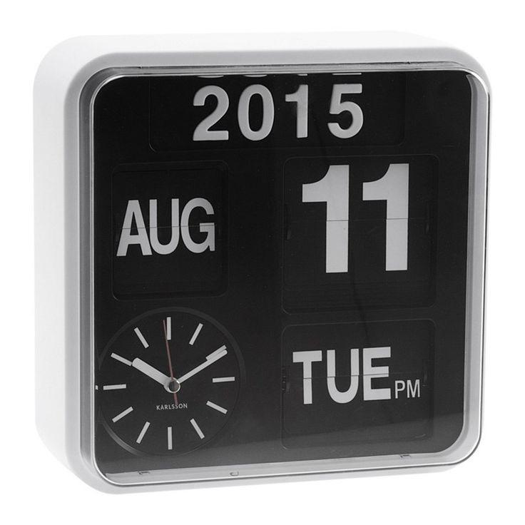 Karlsson Mini Flip Kalender Klok - Wit/Zwart #VTwonencadeau