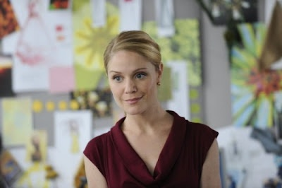 Season 1 Episode #1 - Pilot . . . . . . . . . . ~ Lauren Outfit 3) Red cowel-neck knit dress , hair slick back in a low ponytail and black peep-toe heels and gold earrings , gold bracelet , gold watch