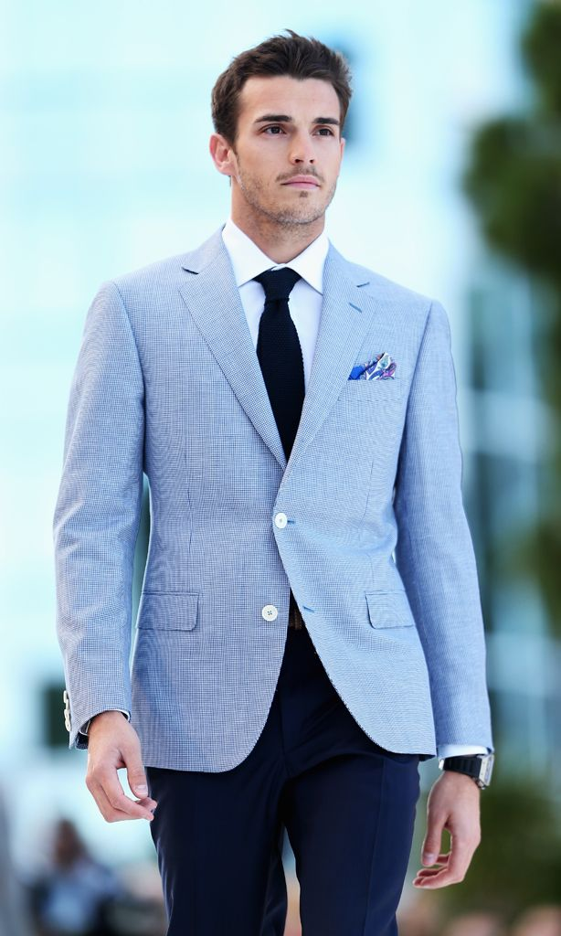 Formal season doesn't have to mean suits - try a blazer or sports jacket.  This pale blue jacket with navy trousers will compliment your girl's bright  or ...
