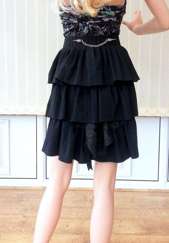 Black Bustle Beltblack lace skirt beltruffles by Blackpassion