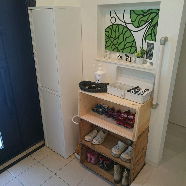 りんご箱で靴箱&無印の工具箱