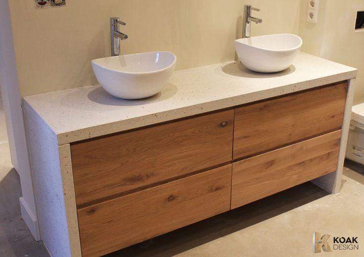 Nieuwe badkamer meubels op basis van de Ikea Godmorgon, onze Goedemorgen met een wit terrazzo blad met schelpjes #KOAKDESIGN
