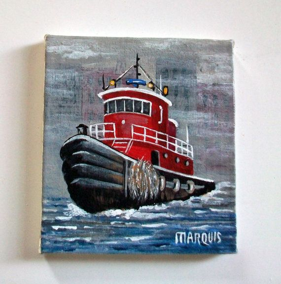 Miniature Tug Boat Painting