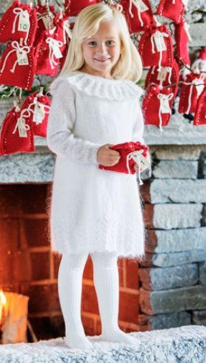 Strik en fin julekjole til piger   Kreativ jul   Gratis strikkeopskrifter