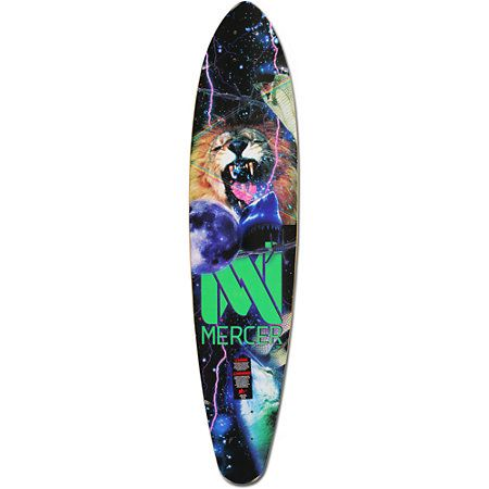 The Mercer Apocolypto Lion longboard deck is just what you need for uber fast times and ultra smooth lines! The Mercer Apocolypto Lion longboard deck features a custom Mercer outer space lion, shark and moon bottom graphic, a super sturdy, concave heavy 7-ply maple deck is a perfect replacement for a worn down longboard, just slap it on to your favorite longboard trucks and wheels and start riding! The Mercer Apocolypto longboard deck is great for getting around town, at work or on campus…
