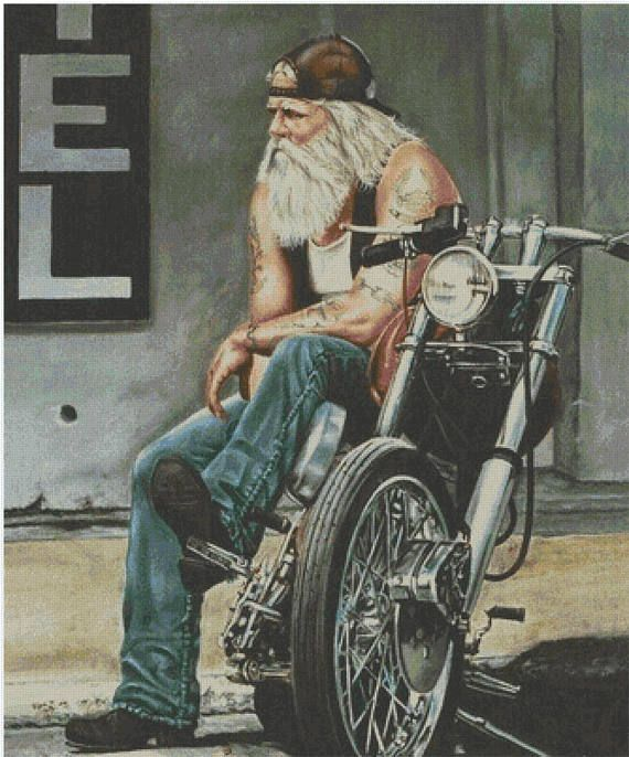 Biker man cross stitch pattern, Bearded biker stitch, Old biker stitch, Motorcyc… – Etsy