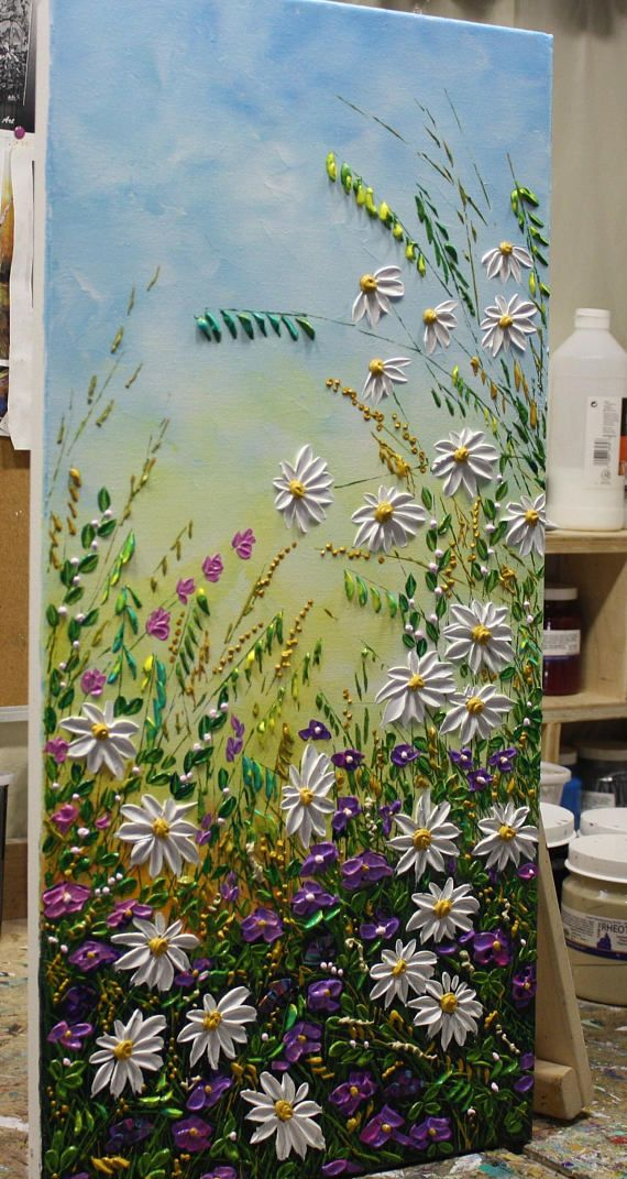 Wildflower Painting, Daisy Painting, Wall Art decor for your Home & Office Decoration. New and in excellent condition. Directly from my studio. size: 30 x 15 x 0.75 MEDIUM: Acrylic, Impasto CANVAS: Stretched Wrapped Canvas, the sides painted in black. Two Coats of high quality
