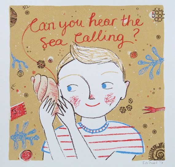 The calling of the sea - is an original 5 colour screen print, hand printed using quality acrylic, paper and elbow grease. I hand squeegie each print, carefully making sure each one has a tiny imperfection to make it unique! This design was inspired by my son, Sonny who loves looking for fossils, hermit crabs and shells on visits to Runswick bay, a tiny seaside spot on the east coast of Britain. The calling of the sea is printed on 30.5cm square quality Fabriano paper, with an image size of…