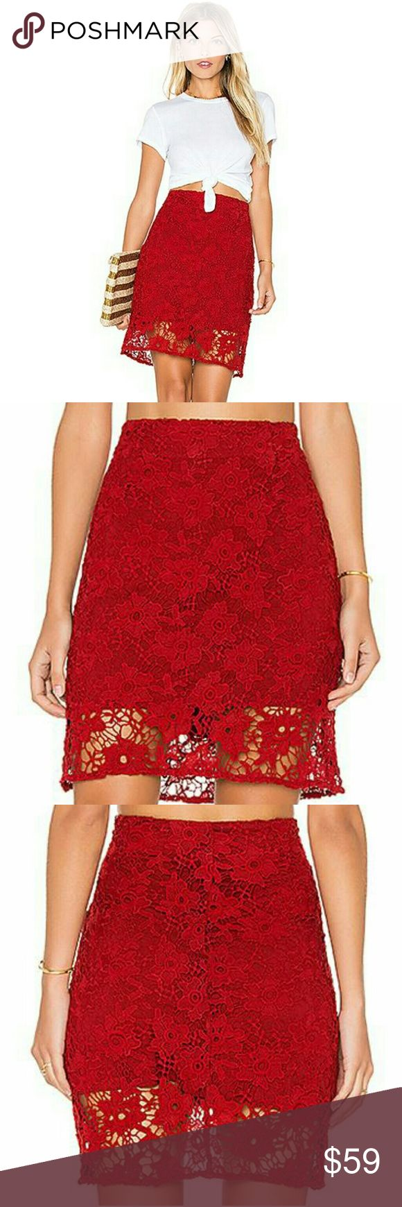 """NWT Sanctuary Women's Red Hand Crafted Lace Skirt New with tags, never used. Women's size XS. Color Boheme Red. MSRP $119. Sold out from most stores.  Above the knee skirt boasts an embroidered floral lace in a rich brick-red hue. Zip closure with hook-and-loop closure. Straight hemline. Lined. Shell: 100% polyester; Lining: 97% viscose, 3% spandex. Machine wash cold. 14"""" waist, 19"""" long laying flat.  Remember to bundle up and save, so check my closet for more treasure finds. Sanctuary…"""