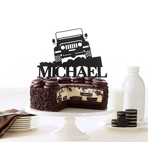 Off Road Jeep Personalized Cake Topper, Off-Road Toppers, Custom 4x4 Truck Toppers, Off Road Jeep Birthday Topper, Truck Jeep Boy's Birthday. Off-Road Lifestyle? Oh well, this topper will be the awesomest addition to your party! It can be customize with any name!!! If you would prefer a different color combination or size, please send me a message and I would be happy to work with you to create exactly what you are looking for.