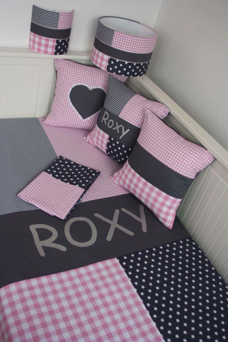 Frisse grijze / lichtroze set voor een meisjes kamer