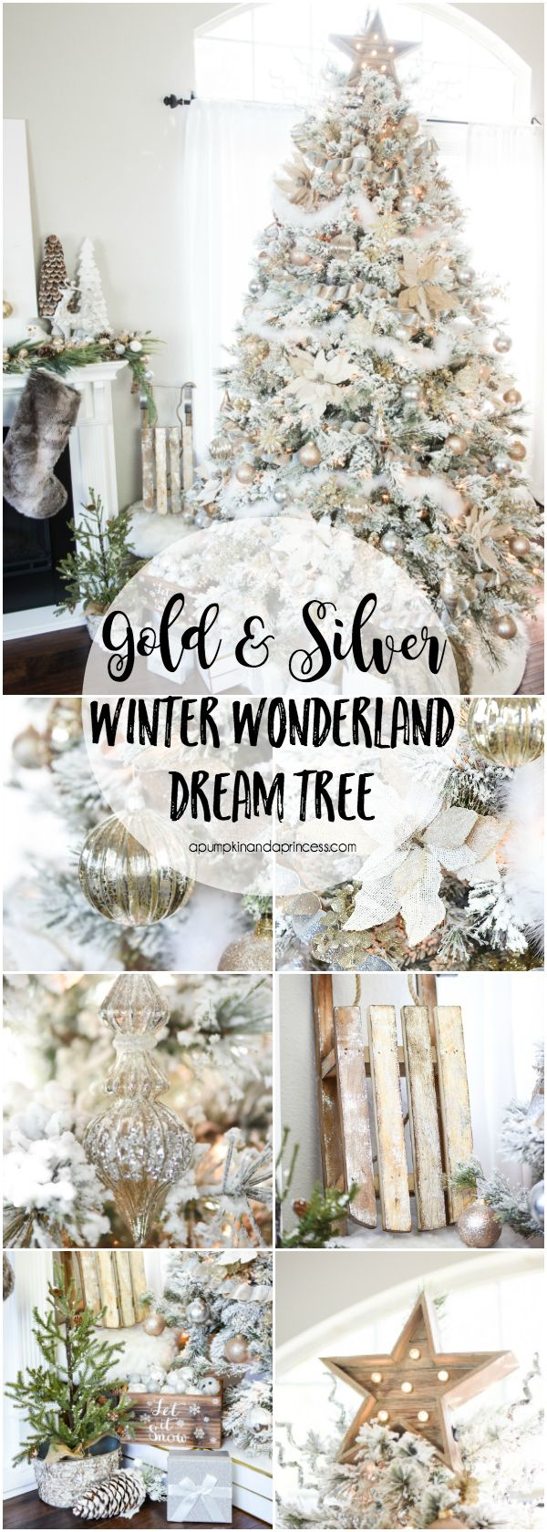 Christmas tree decorations silver - How To Decorate A Flocked Gold And Silver Winter Wonderland Christmas Tree Michaels Dream Tree
