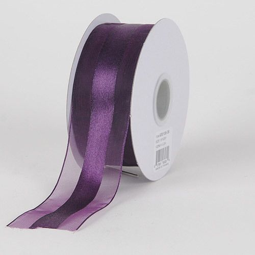 Organza Ribbon Satin Center Eggplant ( 1-1/2 inch   25 Yards ) - BBCrafts - Wholesale Ribbon, Tulle Fabrics, Wedding Supplies, Tablecloths & Floral Mesh at Best Prices