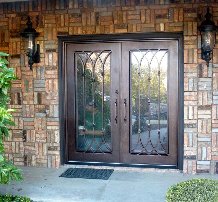 Custom Column Design Double Iron Door Unit Aaleadedglass