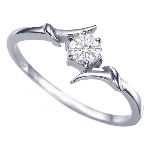 European Engagement Ring - Round Diamond Swirl Engagement Ring 0.25 Carat in 14k White Gold - ER102