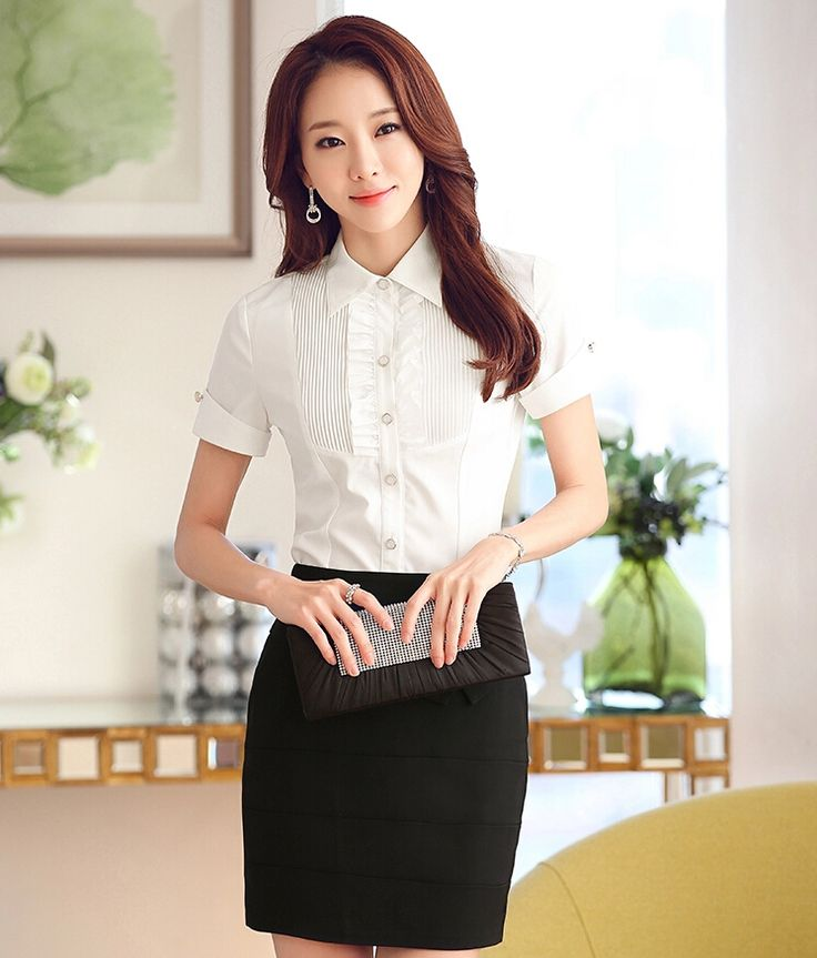 Women's #white short sleeve #shirt casual office working style flouncing design, Rolled sleeve, Button fastenings on the front.