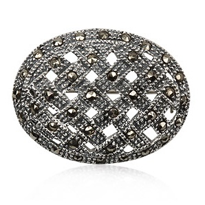 Retro collection. Wonderful brooch in sterling silver and marcasite. Tax free $26.90