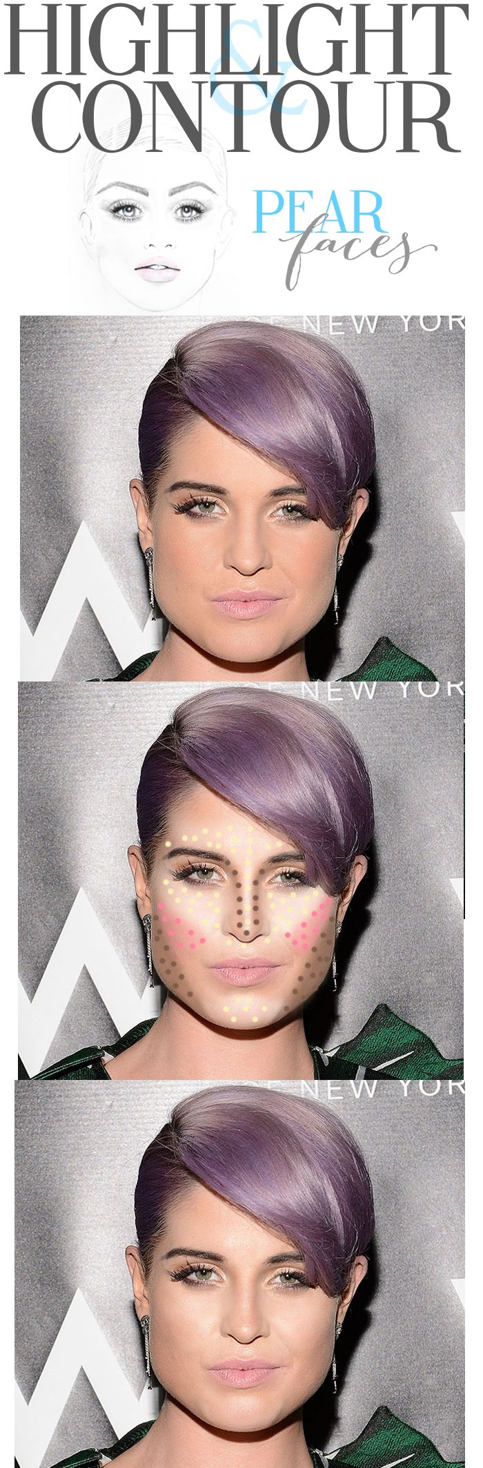 How to contour a pear face  @Cara K K Ferrier #highlighting #contouring