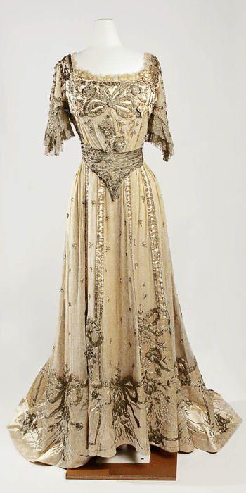 Dress, Evening Jeanne Hallée (French, 1880–1914); Date: 1901–5; Culture: French; Medium: silk, metallic, glass. Source: metmuseum.org