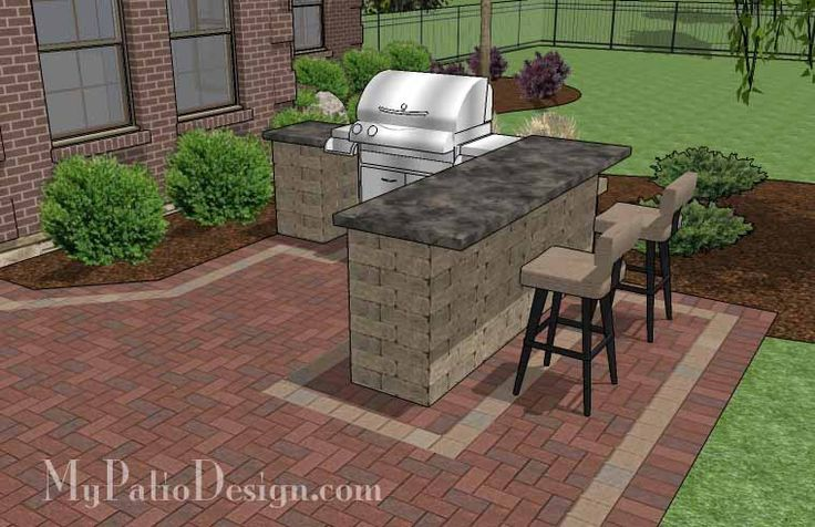 Large Brick Patio Design with Grill Station with Attached Bar, a Seating Wall and Stone Fire Pit.   Plan No. 1145rr   Download Installation Plan at MyPatioDesign.com