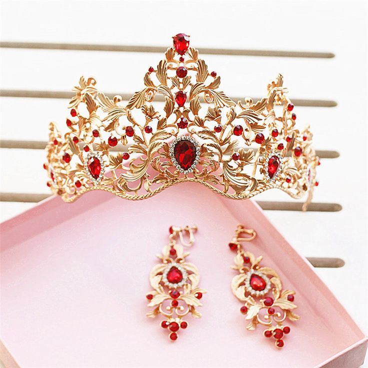 Barato Estilo barroco folha de ouro verde vermelho cristal Tiara coroa do casamento e brinco Set liga nupcial rainha princesa coroa acessórios de cabelo, Compro Qualidade Jóias para cabelo diretamente de fornecedores da China: