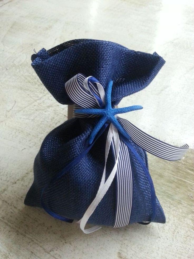 μπομπονιέρα με πουγκί απο καμβά μπλέ navy