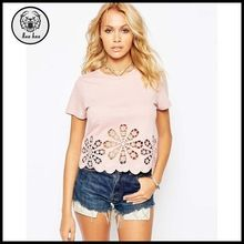 ladies t-shirt with floral cutwork embroidery hem for distributor Best Seller follow this link http://shopingayo.space