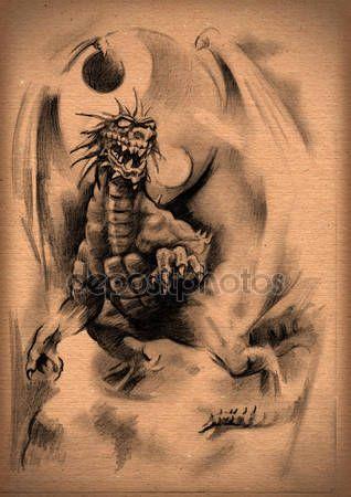 Скачать - Винтаж бумаги с эскиз дракона — стоковое изображение #27032197