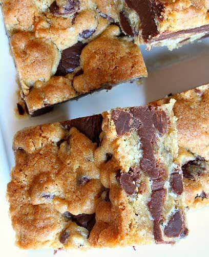Gooey Chocolate Chip Sandwich Bars: semi-sweet chocolate morsels ...