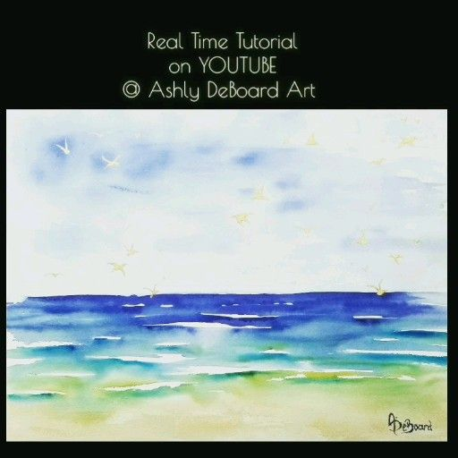 watercolor beach / real time tutorial on youtube / Ashly DeBoard Art