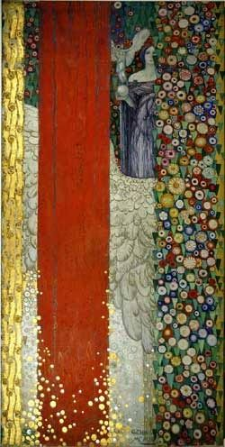 Galileo Chini was a painter, graficus, architect, ceramist en decor designer. early 20th century inspired by Klimt  http://art-nouveau.livejournal.com/451377.html