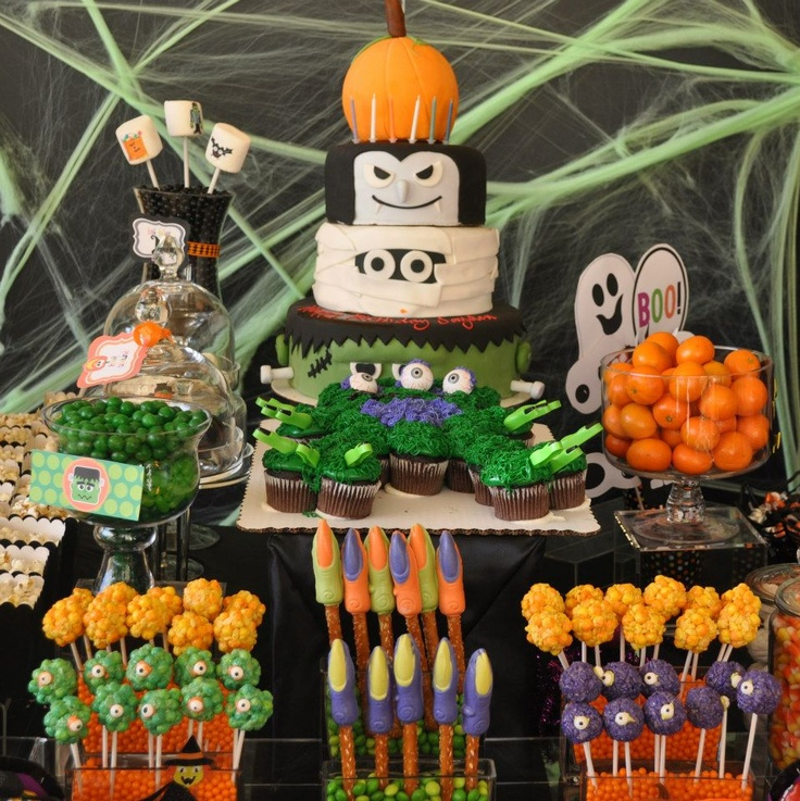 halloween birthday party by wwwcandybarcouturecom pinned with pinvolve - Halloween Birthday Decorations
